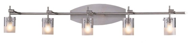 Adjustable Vanity Light Fixtures : Brushed Nickel Adjustable Five Light Bathroom Fixture - Contemporary - Bathroom Lighting And ...