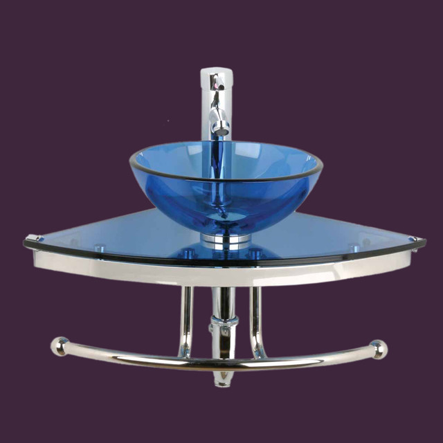 Corner Sinks Blue Glass Mini Wall Mount Vessel Corner Sink 10890 ...