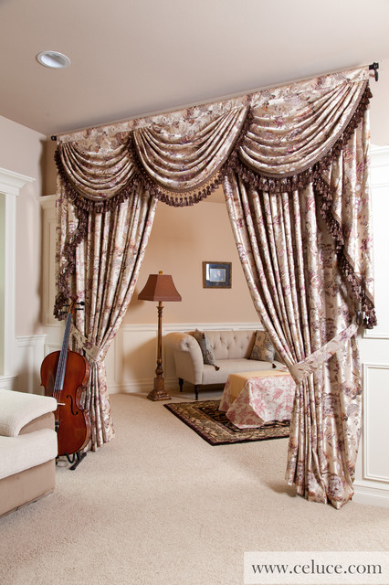 Valance Curtains With Swags And Tails By Traditional Living Room Seattle By