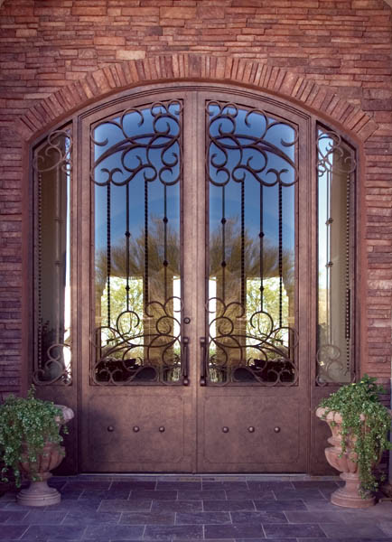 Arched Double Doors mediterranean front doors