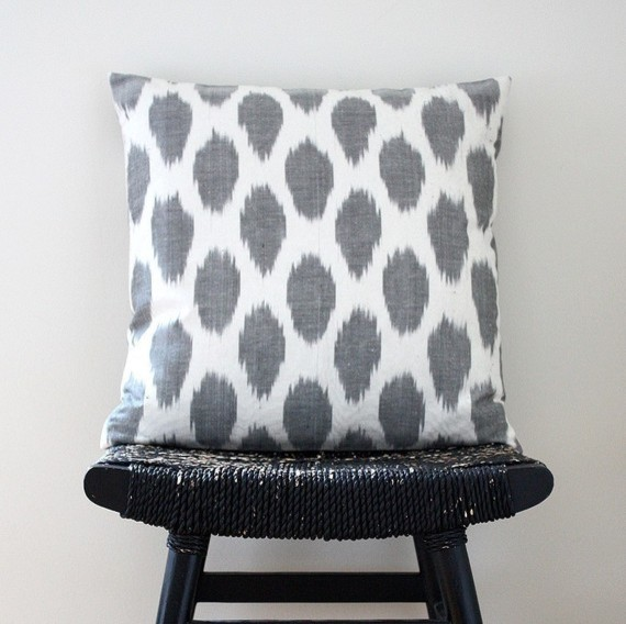 Grey Dot Uzbek Ikat Silk and Cotton Cushion Cover by Be Still Shop contemporary pillows
