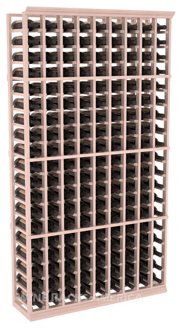 9 Column Standard Cellar Rack in Mahogany with White Wash Stain + Satin Finish traditional-wine-racks