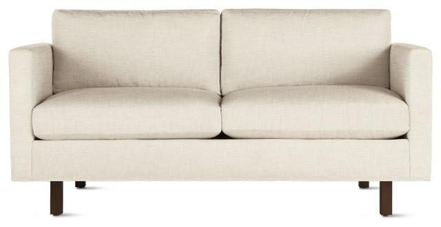 Goodland Two-Seater Sofa in Fabric, Walnut Legs modern-sofas