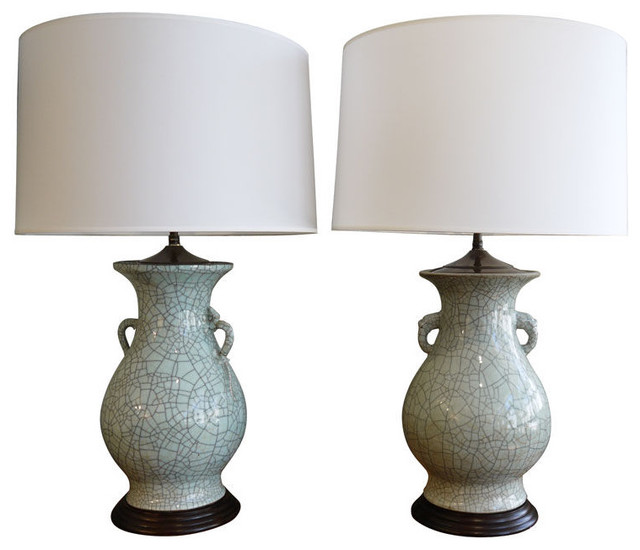 Pair of Chinese Crackleware Vases, as Lamps asian-table-lamps