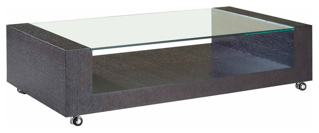 MODERN RECTANGULAR WENGE COFFEE TABLE ON WHEELS PORTO Modern Coffee