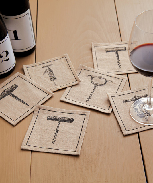 Vino Set of 6 Corckscrew Coasters/ Napkins in Gift Pouch transitional-wine-and-bar-tools