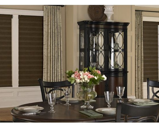 Drapes & Shades Dining Room Inspiration - Layering drapes over shades not only gives your room a polished and sophisticates look but offers many functional benefits as well. Layering with drapes with allow you to create a completely dark space when curtains pulled closed. Commonly known as blackout drapes. Layering with drapes can acutally insultate your home and lower your electric bills by trapping in air from your heating and cooling systems.