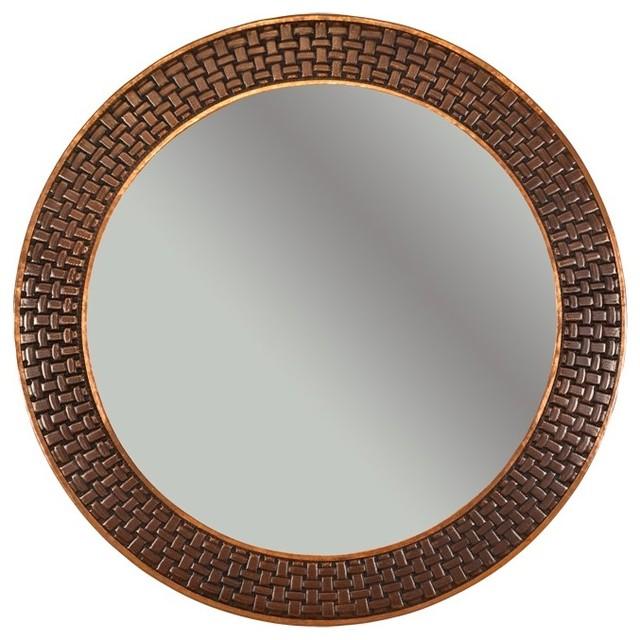 Premier copper 34 hand hammered round copper mirror with for Decorative bath mirrors