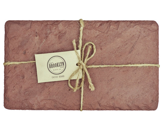 """Brooklyn Slate Company - Slate Cheese Board, Red, 7"""" X 12"""" - A distinctive natural surface for serving cheeses & hors d'oeuvres. Sourced from our family quarry in upstate New York, each cheese board is packaged with a burlap bag alongside soapstone chalk and anti-slip padded feet."""
