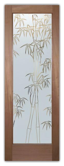 Interior Glass Doors - Bamboo Shoots Pintripe asian-interior-doors
