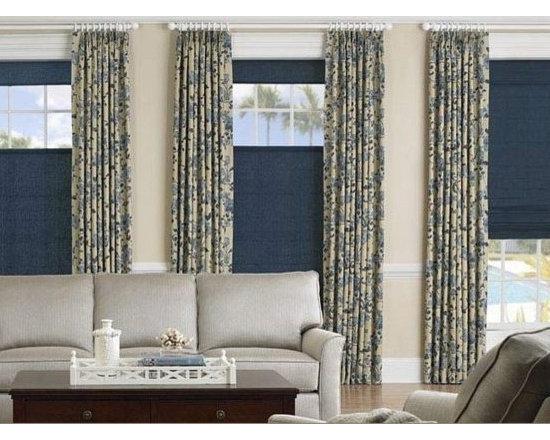 Living Room- Soft Roman Shades & Drapes -