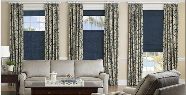 Living Room- Soft Roman Shades & Drapes traditional-curtains