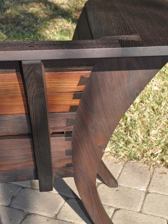 Oma Bench - Detail of the opposing compound dovetails joining the back slats.