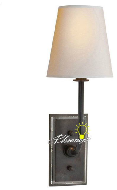 Antique Fabric and Copper Wall Sconce 004 contemporary-wall-lighting