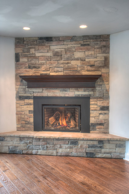 Stone Fireplaces Traditional Basement Chicago By North Star Stone