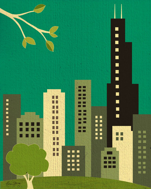 Chicago, Illinois Skyline eclectic-artwork