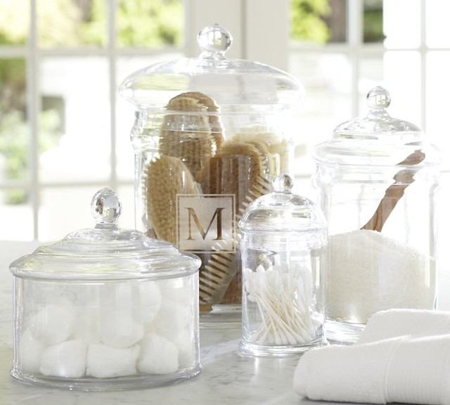 Pb classic glass canisters traditional kitchen for Bathroom accessories glass