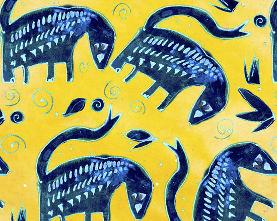 Wonderbeast Midnight Solar Power Designer Fabric - Whimsical Midnight beasts, leaves, dots and swirls on tone on tone to mix & match. Perfect for tabletop, bedding curtains, shower curtains, children's and more.