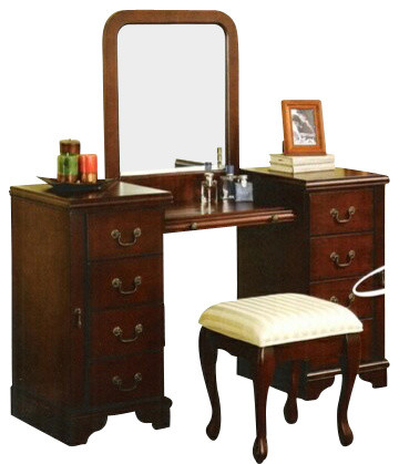 bedroom make up vanity set with mirror and stool transitional bedroom