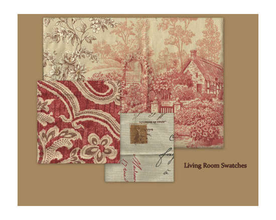 French Creek Farm - Fabric swatches for living room furniture and window treatments.