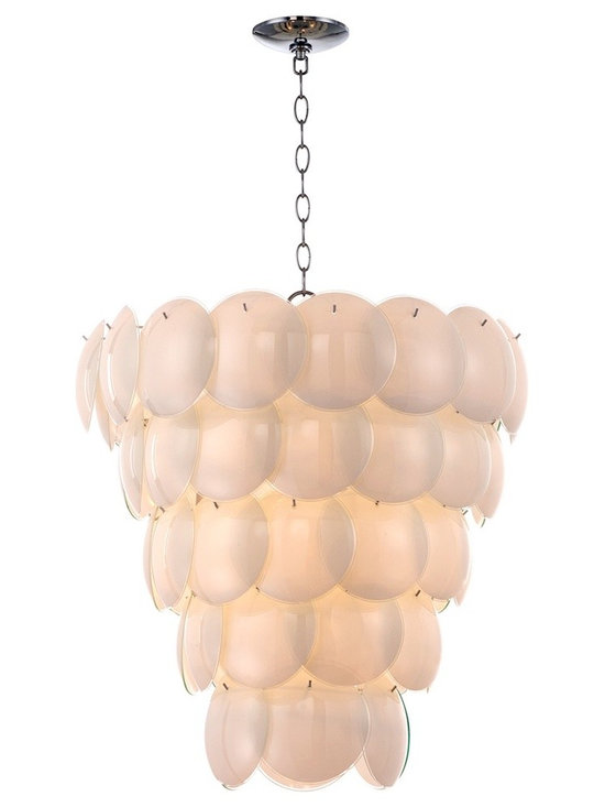 "Possini Euro Design - Cascading Glass Petals 22 1/2"" Wide Pendant Light - Spectacular pearlescent convex glass ""petals"" give this pendant light its unique style. The petals cascade down and gently glisten in the light provided by nine bulbs. Chrome finished chain and canopy make a sparkling accent and a beautiful contrast to the translucent petals. From the Possini Euro Design lighting collection. Glass and chrome construction. Takes nine 40 watt candelabra bulbs (not included). 22 1/2"" wide. 18 1/2"" high. Comes with 6 feet of chain and 12 feet of wire. Canopy is 5"" wide. Hang weight is 23 pounds.  Cascading Glass Petals pendant chandelier.  Chome finish  By Possini Euro Design lighting.  Takes nine 40 watt candelabra bulbs (not included).   22 1/2"" wide.   18 1/2"" high.   Comes with 6 feet of chain and 12 feet of wire.   Canopy is 5"" wide.   Hang weight is 23 pounds."