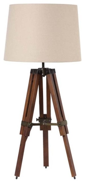 Wood Surveyors Table Lamp with Shade eclectic-table-lamps