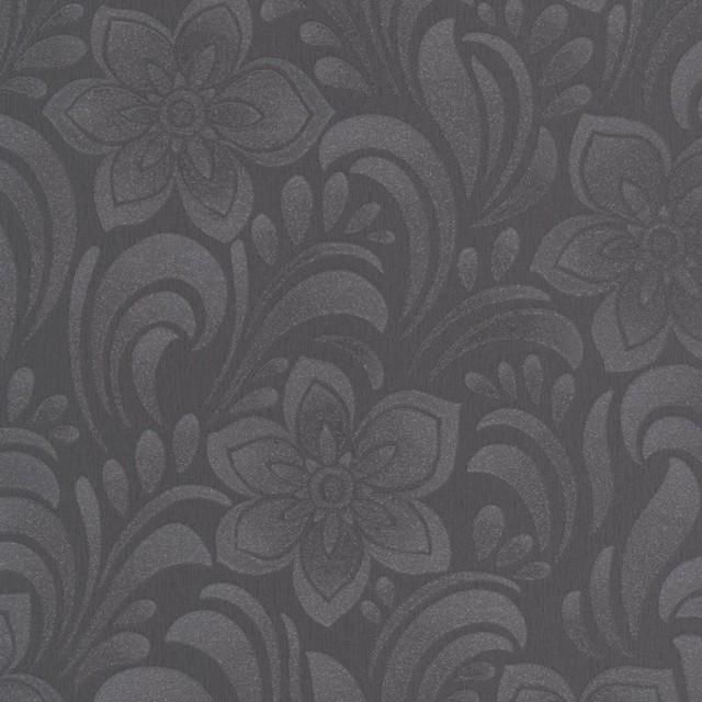 Jacquard Floral Charcoal Wallpaper contemporary-wallpaper