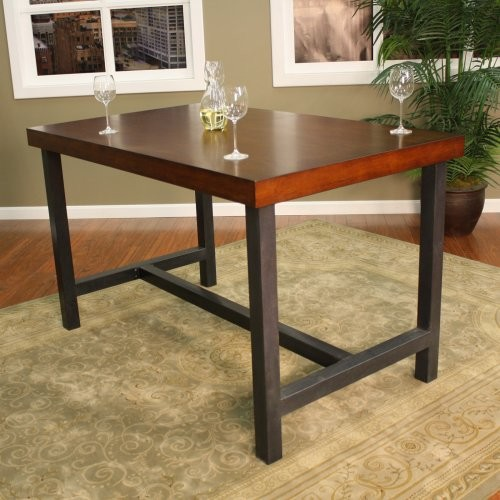 Kingston Wood & Steel Rectangle Counter Height Dining Table contemporary-dining-tables