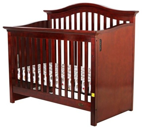 Dream On Me Electronic Wonder Crib II 4 in 1 Convertible - Cherry traditional-cribs