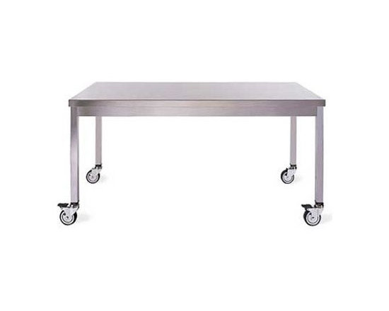 Design Within Reach - Quovis Table - This hardworking table is inherently functional and extremely versatile. Made of satin-finish stainless steel, the generously proportioned Quovis Table is easy to clean and maintain, will not rust and is constructed to endure years of use. Able to withstand the corrosive action of various acids found in food and chemicals, as well as having a high strength-to-weight ratio, the table is suited to a high-traffic cafÈ or restaurant, darkroom or kitchen. Lockable casters provide stability. Made in Italy. Assembly required. DWR Exclusive.