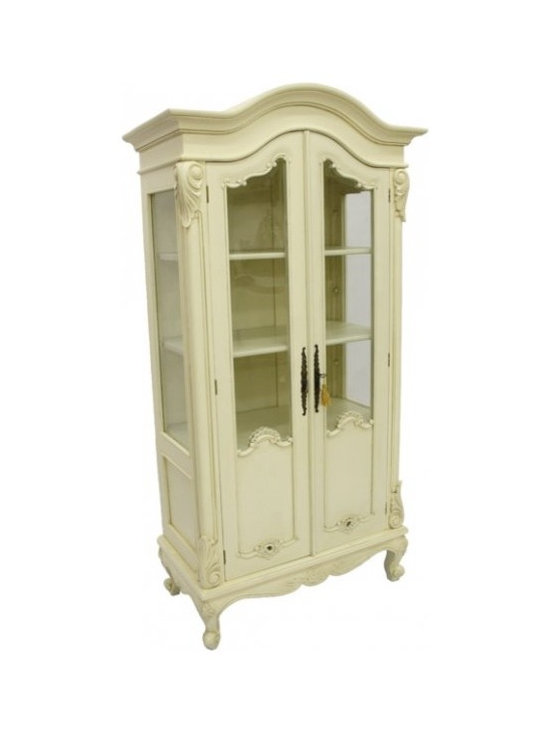 Chichi Furniture Exclusives. - A charming Louis XIV Display Cabinet finished in our classic antique ivory. Perfect for many uses, either in the kitchen, dining room or living room or why not use as a linen cupboard in the bathroom? Comes with locking doors and three adjustable shelves.