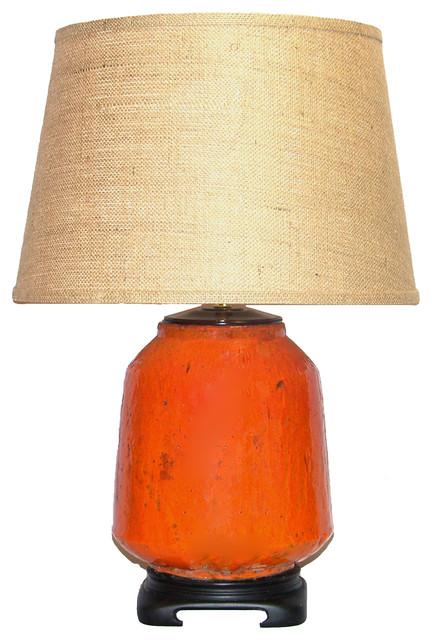 Distressed Dark Orange Table Lamp With Burlap Shade