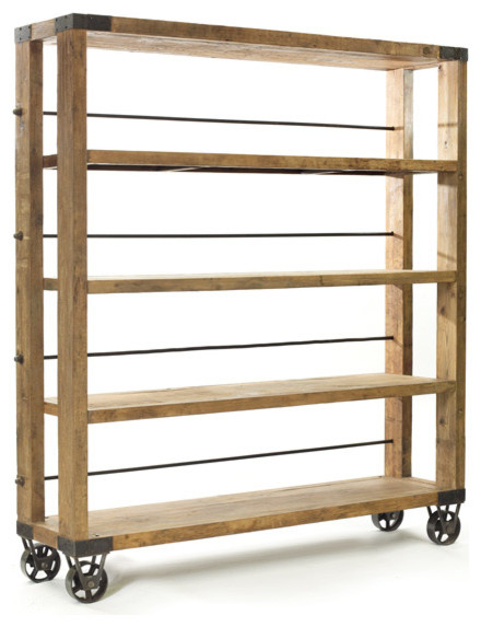 Rolling Study Bookcase - Industrial - Bookcases - by Indeed Decor