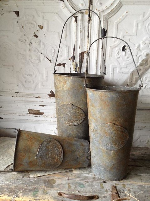 Embossed Metal Hanging French Flower Market Buckets eclectic-indoor-pots-and-planters