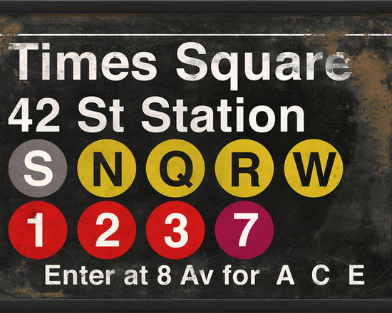 """The Artwork Factory - """"Times Square Station"""" Print - Do you heart NY? Add the hustle and bustle of the Big Apple to your walls with this graphic reproduction of a subway sign. It's a high quality print that comes framed and ready to hang any time in your square."""