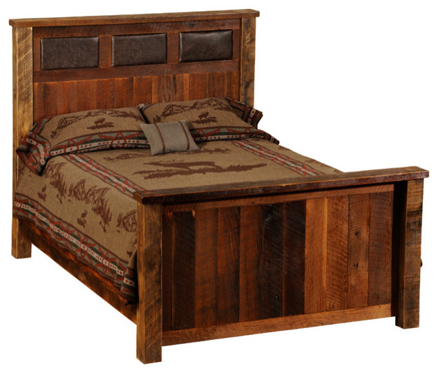 Fireside lodge reclaimed wood and leather bed twin size rustic beds