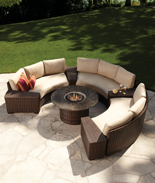 Lloyd flanders contempo fire table and curved sectional Outdoor sofa tables
