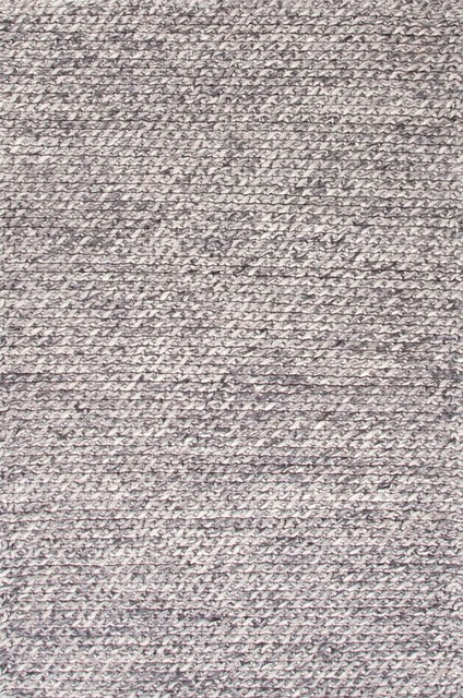 Textured Ultra Plush Wool Gray Ivory Area Rug 5 X 8