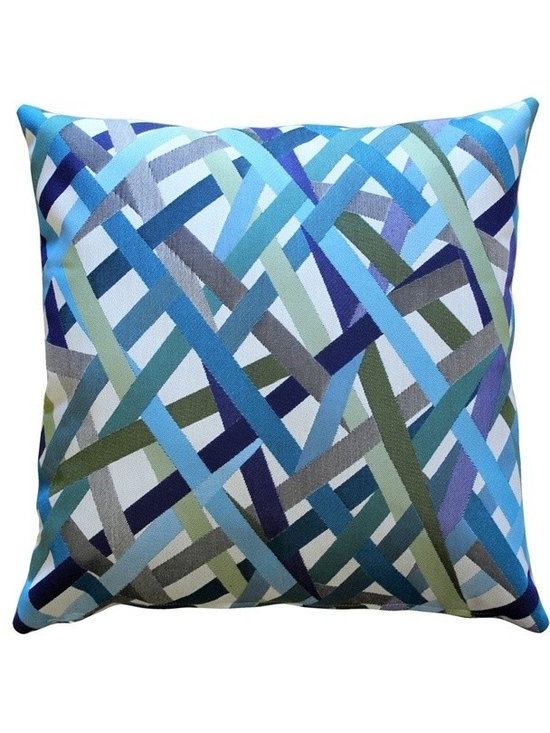 Pillow Decor - Pillow Decor - Streamline Throw Pillow - Lively hues of blue, green and violet crisscross this pillow in complementary stripes. This is a versatile accent pillow that can be used to tie in other accent pieces, artwork or furniture in similar colors. The Streamline Throw Pillow will work well layered with smaller coordinating solid color pillows, creating an elegant and contemporary look.