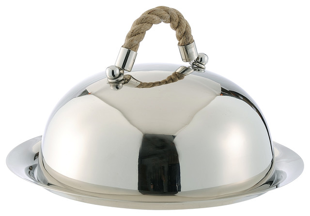 Nautical Rope Polished Silver Modern Serving Dome and Charger beach-style-charger-plates