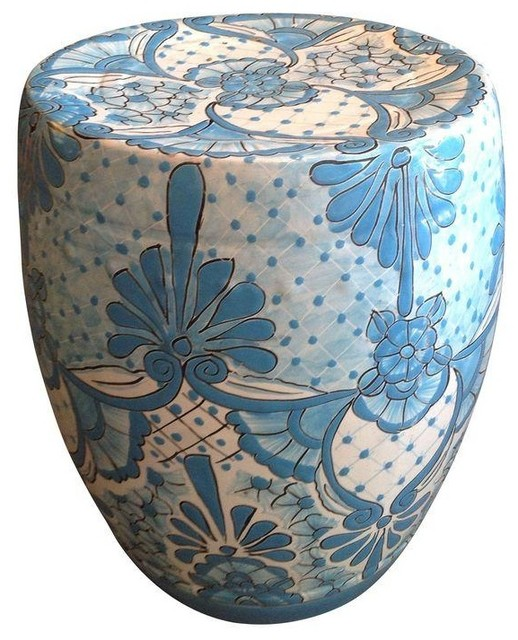Pre owned blue and white garden stool contemporary for Outdoor garden stool