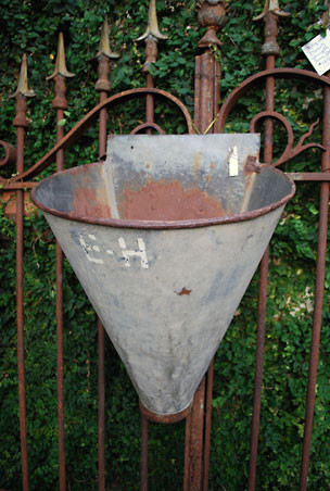 Antique French Galvanized Grape Harvesting Container eclectic outdoor planters