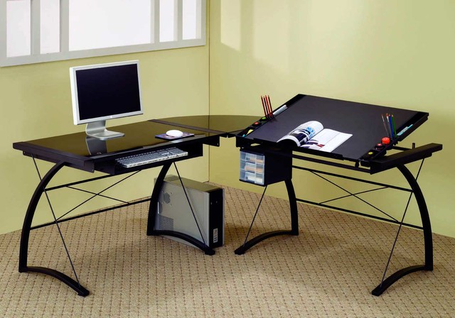 Black L shaped Computer Table Contemporary Desks And