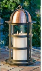 Big Daddy Lantern with Granite Base, Copper Top and Candle traditional-candleholders