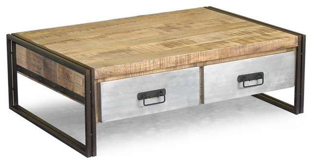 Reclaimed wood and iron coffee table with metal drawers - Eclectic - Coffee Tables - san ...