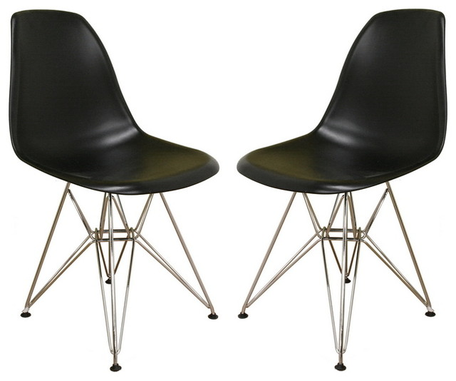 Baxton Studio Black Plastic Side Chair Set of 2 midcentury-chairs