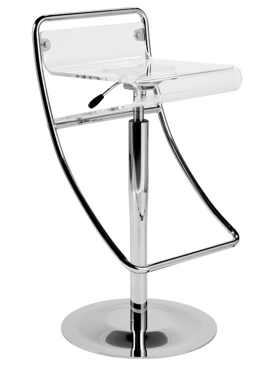 Eurostyle - Angelita Bar Stool-Acrylic - This sleek clear acrylic and chromed steel take on the traditional bar stool will update any kitchen or bar. And no matter what the height of your counter, this cool stool features a gas lift and swivel for easy adjustments.