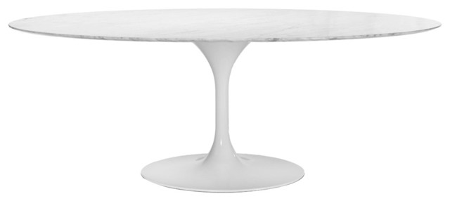 79'' Oval Marble Tulip Table (White) midcentury-dining-tables