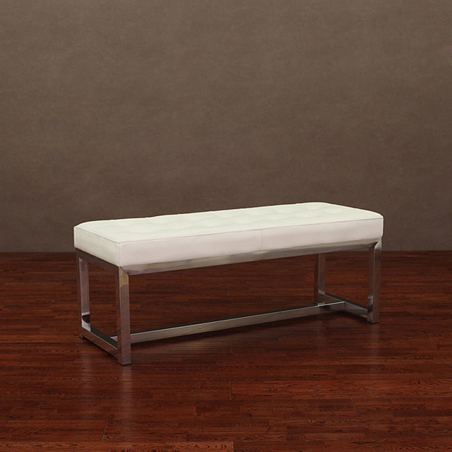 Liberty Modern White Leather Bench Contemporary Indoor Benches By