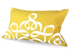 Ribbon Damask Pillow Cover, Yellow By Celine And Kate traditional-pillows